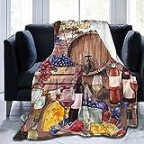 Manta de Acuarela, Queso, Uvas, higos, Fresas, vellón, Franela, Mantas para sofá, Cama, sofá, Coche, Manta Suave y acogedora, Manta Queen King, tamaño Completo f