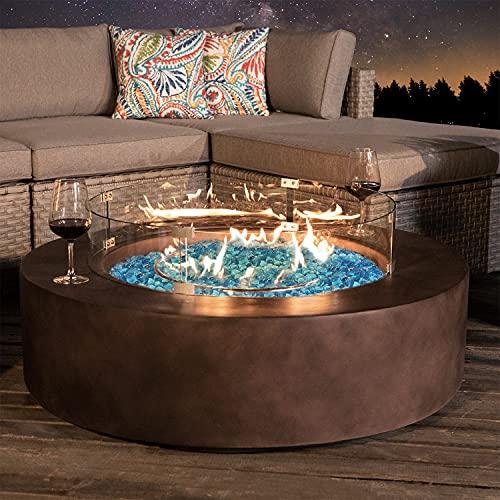 COSIEST Outdoor Propane Fire Pit Coffee Table w Dark Bronze 42-inch Round Base Patio Heater, 50,000...