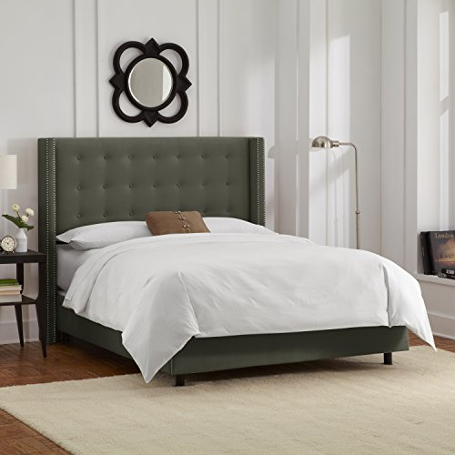 Hot Sale Skyline Furniture Nail Button Tufted Wingback King Bed in Velvet Pewter