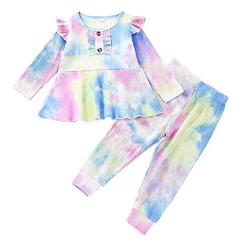 Boshivw Conjunto de ropa para bebé y niña, conjunto de ropa para niña, conjunto para bebé, conjunto para niñas de 9 meses a 5 años, multicolor, 12 meses