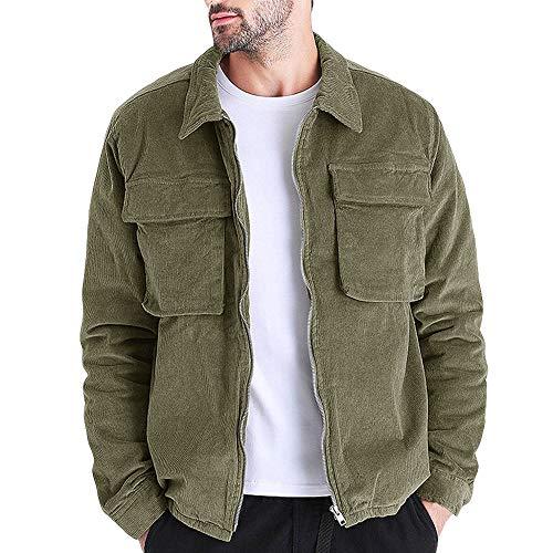 Pengfei Men's Casual Corduroy Coat Zipper Jacket Lapel Windproof Outerwear Jackets with Pockets Army Green