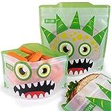 Juego de 4 bolsas reutilizables para bocadillos y bocadillos, monstruo verde