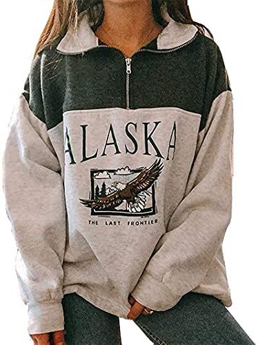 Yesgirl Kapuzenpullover Für Damen Alaska Letter Print Sweatshirt Lose Casual Langarm Hip Hop Hoher Rundhals Reißverschluss Adler Grafik Top Farbanpassung Hoodie 01 A Grün 2XL