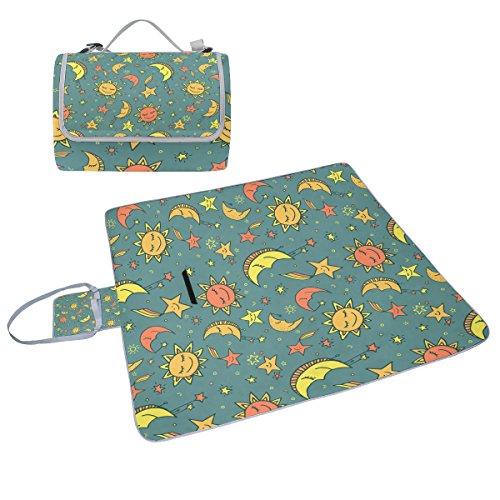 COOSUN Sonne Mond und Sterne Muster Picknick Decke Tote Handlich Matte Mehltau resistent und wasserfest Camping Matte für Picknicks, Strände, Wandern, Reisen, Rving und Ausflüge