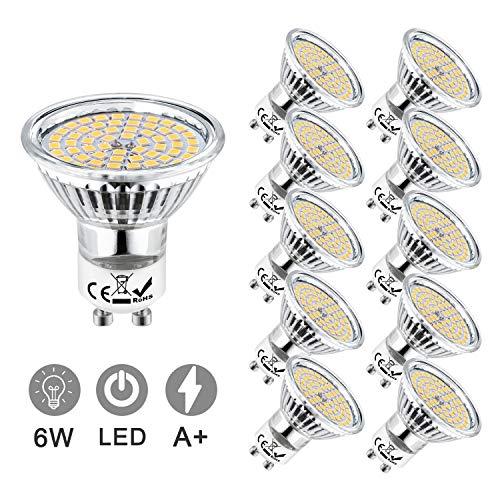 Eofiti 6w GU10 LED Blanco Frio, Bombillas LED GU10 6000K Equivalente a 50W Lámparas Halógenas AC 230V Spot Luz GU 10 Iluminación 540LM Ojo de Buey Ángulo de Haz de 120°Ra 83 No Regulable Paquete de 10