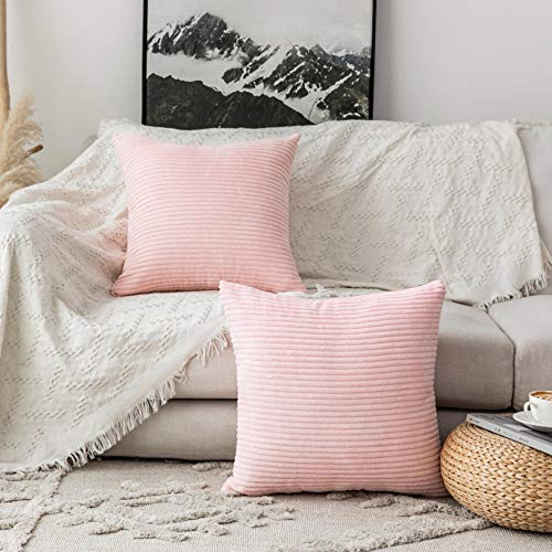 decorative pillows Home Brilliant Decorative Pillow Covers Couch Throw Pillows Sets of 2 Striped Velvet, 22 x 22 inch, 55cm, Blush Pink