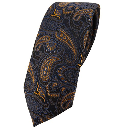 TigerTie - corbata estrecha - marrón bronce oro azul negro Paisley modelada