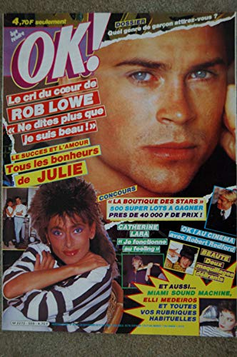 OK ! âge tendre 559 SEPT 1986 COVER ROB LOWE JULIE PIETRI CATHERINE LARA ELLI MEDEIROS ROBERT REDFORD