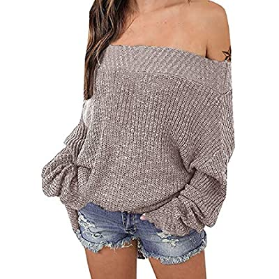 Exlura Women's Off Shoulder Batwing Sleeve Loose Oversized Pullover Sweater Knit Jumper - Khaki, XL/2XL(14/16)
