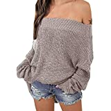 Exlura Women's Off Shoulder Batwing Sleeve Loose Oversized Pullover Sweater Knit Jumper - Khaki, 2XL/3XL (16/18)