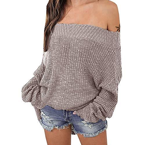 Exlura Women's Off Shoulder Batwing Sleeve Loose Oversized Pullover Sweater Knit Jumper - Khaki, XL/2XL (12/14)