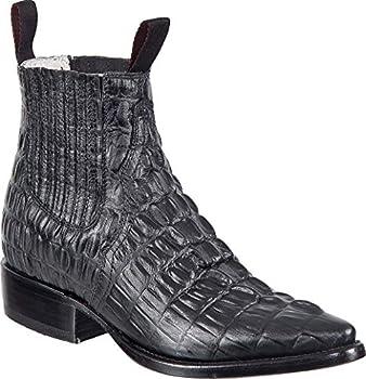 Western Shops Mens Leather Cowboy Boots Crocodile Alligator Print Short Ankle Western J Toe Boot  8.5 Black