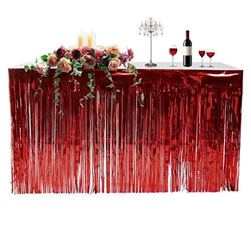 LafyHo Metallic Fringe Foil Table Rock Tinsel Vorhang Metallic Tabelle Vorhang für Luau Party-Geburtstags-Sommer-Jahrestag Weihnachtstischdekoration rot