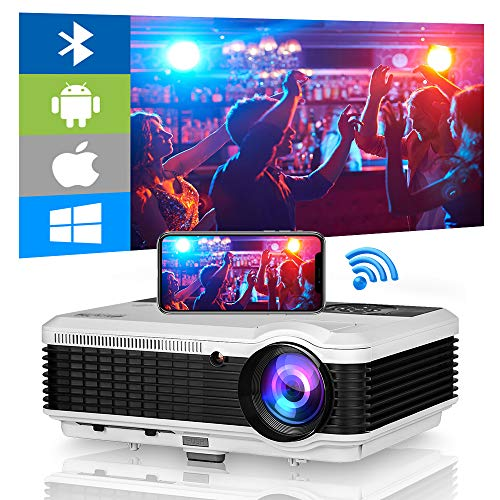 Bluetooth WiFi Projector,4800 Lumen 150 Inch Display Outdoor Movie Projector Support Wireless Airplay Zoom 4D Keystone Correction,HDMI Projector for Home Theater TV USB Stick DVD PS4 Laptop