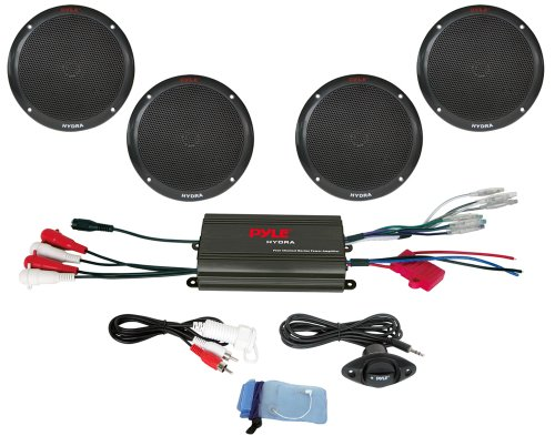 """Pyle Marine Receiver Speaker Kit - 4-Channel Amplifier w/ 6.5"""" Speakers (4) Waterproof Poly Bag 3.5mm Jack RCA Adaptor for MP3/iPod & Volume Gain Remote Control & Power Protection Circuitry - PLMRKT4B"""