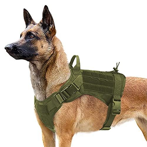 Companet Taktisches Hundegeschirr Armee Grün Geschirr für Hunde Outdoor Wandern Durable Hundegeschirr Armeegrün (XL)