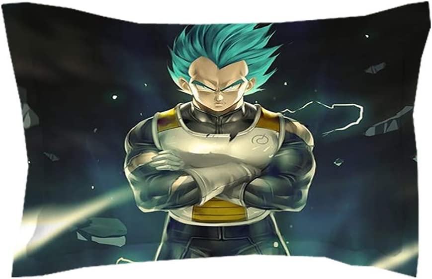 Housse de Couette/Literie 3D Dragonball Z Goku Super Saiyan Modèle avec Fermeture éclair Liens 3 PIÈCES 1 Housse de Couette + 2 Couvre-oreillers (Édredon Non Inclus),AUQueen Ukking