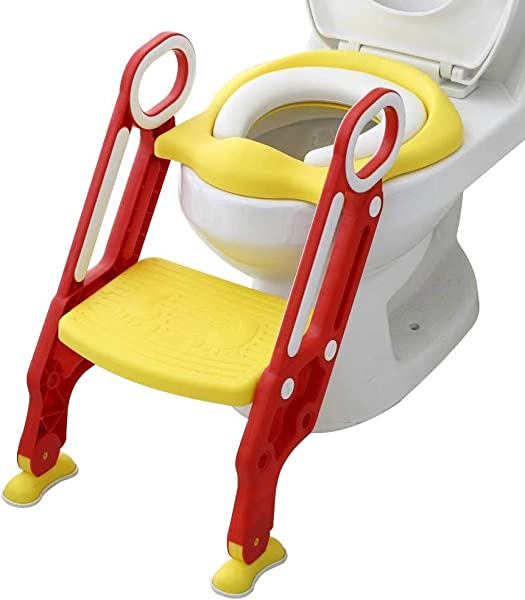 QJGhy Potty Training Toilet Seat With Step Stool Ladder For Boy And Girl Toilet Training Seat For Potty Training Chair With Sturdy Non Slip Training Toilet Color B