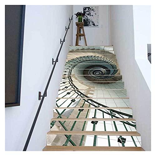 SHUILIANDU 6 unids / 13 unids escaleras calcomanías Etiquetas engalas para la decoración de la Escalera Paisaje Natural Escalera Adhesiva removible Escalera Sala de Estar decoración