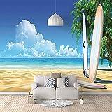 FVGKYS Papel Pintado Pared Dormitorio Infantil 3D Murales Tabla De Surf De Playa Autoadhesivo Fondo De Pantalla Sala De Estar Café Ktv Salón De Belleza Murales 200x150cm Tamaño Personalizado