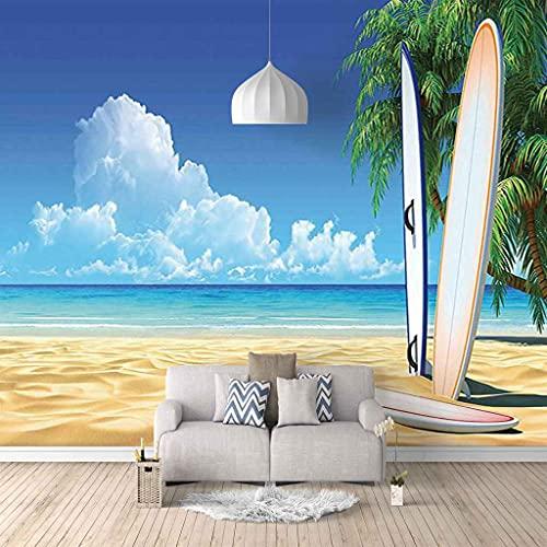 FVGKYS Papel Pintado Pared Dormitorio Infantil 3D Murales Tabla De Surf De Playa Autoadhesivo Fondo De Pantalla Sala De Estar...