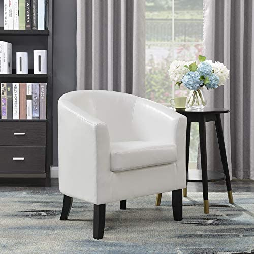 Best BELLEZE Club Chair Tub Faux Leather Armchair Seat Accent Living Room, White