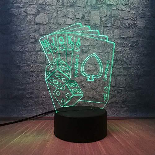 Luces Para Juegos Luz Nocturna 3D Lámpara Usb Led 3D Creativa Decoración De Mago Texas Hold Em Dice Poker Spades Naipes 7 Colores Que Cambian Rc Night Light Navidad Con Control Remoto