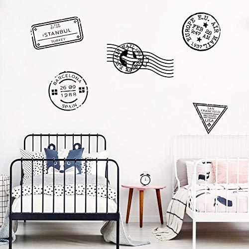 Reise Stempel Wandtattoo Schlafzimmer Kinderzimmer Reise Stempel Post Reise Stempel Wandaufkleber Wohnzimmer Vinyl Wohnkultur Kunst