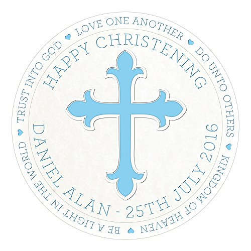 Happy Christening Baptism Boy Cake Topper 7.5 Inch Personalised Edible on Icing Sheet with HI-RES Image