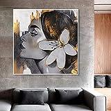DCLZYF Chica Dorada con Flor Pintura en Lienzo Retrato de Mujer Póster e impresión Imágenes artísticas de Pared Decoración de la Pared de la Sala de Estar -60x60cm (sin Marco)