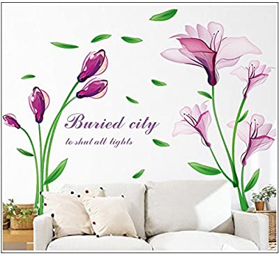 LiveGallery Beautiful Lovely Lily Flowers Wall Decals Removable DIY Butterfly Flower Vines art Decor Wall Stickers Murals for Living room TV Background Kids Gilrs rooms Bedroom Decoration