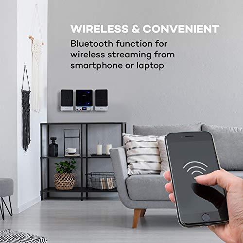 auna Microstar - Microsystem, Vertikalanlage, CD-Player, Bluetooth, Stereo-Lautsprecher, USB-Port, UKW-Tuner, AUX-In, LC-Display, LED-Ambientlight, Wandinstallation oder Standgerät,Silber