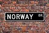GIGIEU - Señal de Metal Divertido con Texto en inglés Noruega, Recuerdo de Noruega, Momento de Vacaciones Nativo, Noruega, Visita, Garaje, casa, Patio, Valla, Calle, decoración, 3 x 18 Pulgadas