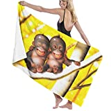 Yuanmeiju 32 X 52 Inch High Absorbency Bath Towel Chimpanzee Branch Baby Lightweight Large Bath Sheet for Beach Home SPA Pool Gym Travel