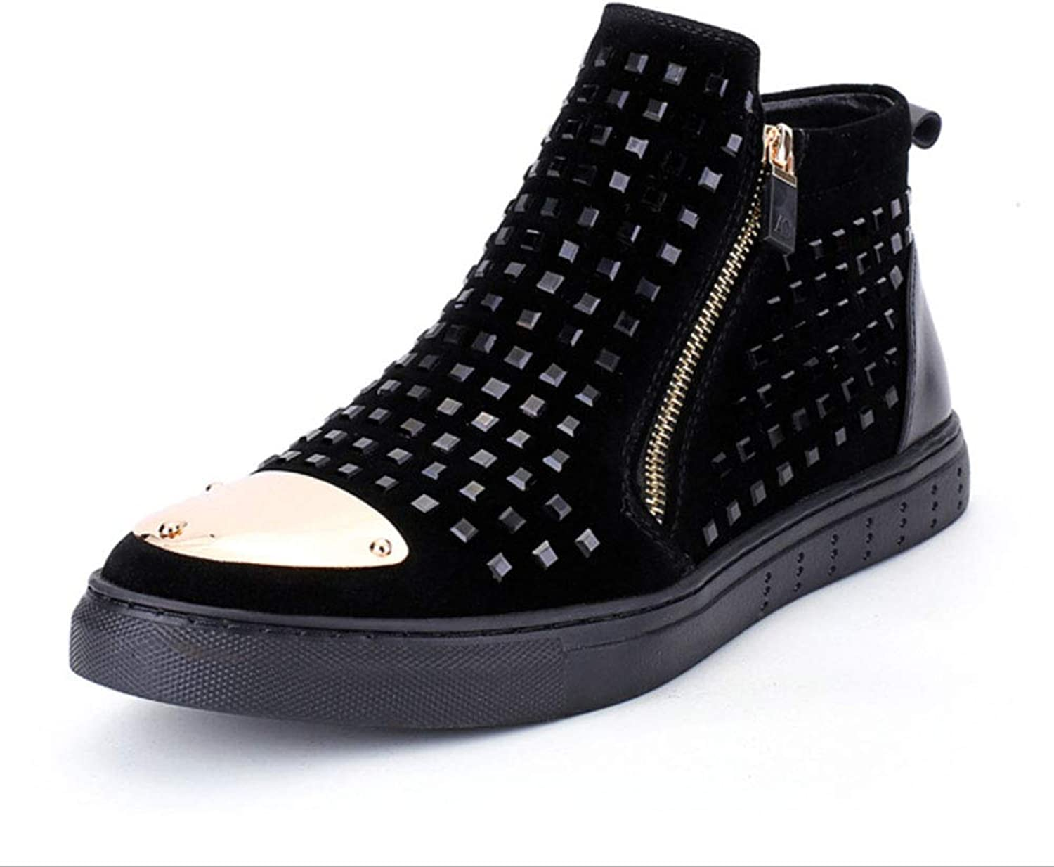 Men's Leather Rivetboots Driving shoes Platform shoes Martin Boots Comfortable Sparkling Glitter Studded shoes Party & Evening Night Club Stage Personality