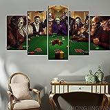 PLWCVERS Carteles Modernos para decoración del hogar, 5 Piezas, Lienzo de póquer y Terror, película de Terror de Texas, Villanos, Arte de Pared, Cuadro de Pintura en Lienzo / 30x40 30x60 30x80 cm