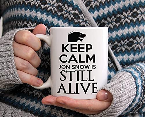 N\A Keep Calm Jon Snow Sigue Vivo Taza de café Divertida Citar Juego de Tronos Jon Snow Vive Jon Snow Se Acerca el Invierno Regalos Divertidos Taza de café