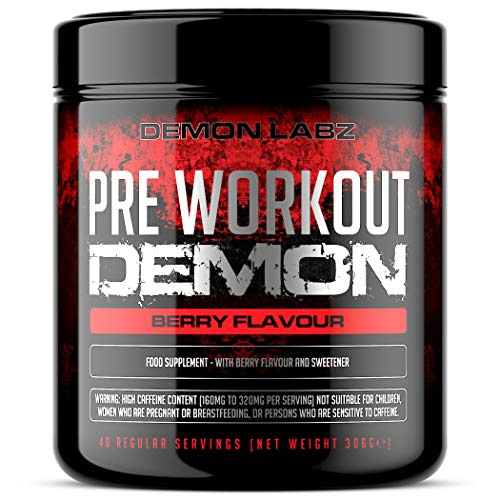 Pre Workout Demon (Berry Flavour) - Hardcore pre-Workout Supplement with Creatine, Caffeine, Beta-Alanine and Glutamine (Regular - 320 Grams - 40 Servings)