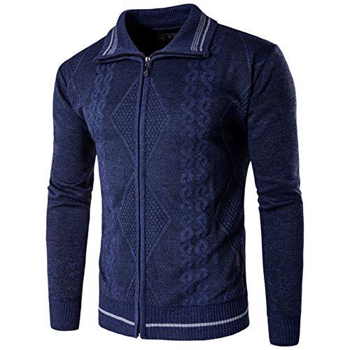 PANBOB Coat Herren Bequeme Reißverschluss Wärmeisolierung Langärmelige Schlanke Revers Strickjacke Sport Lässige Herren Strickpullover A-Blue L