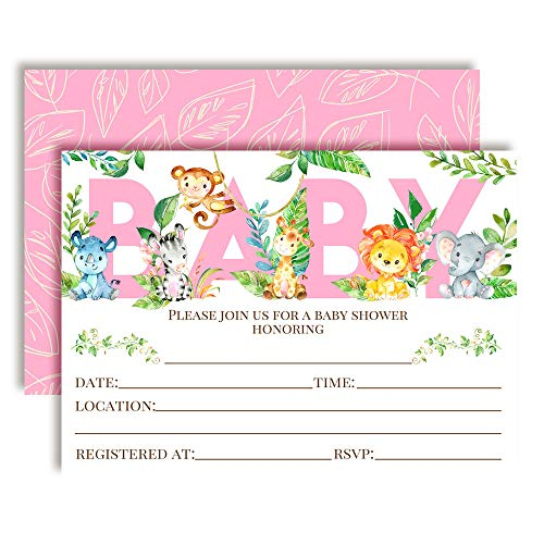 Watercolor Jungle Animals Baby Girl Sprinkle Baby Shower Invitations, 20 5'x7' Fill in Cards with Twenty White Envelopes by AmandaCreation