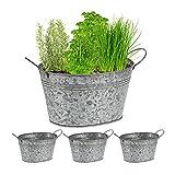 Relaxdays Juego de 4 bañeras de Zinc galvanizadas para jardín, maceteros ovalados, 15,5 x 29 x 17,5 cm, Color Plateado