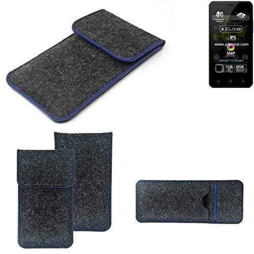 K-S-Trade Filz Schutz Hülle Für Allview P4 Pro Schutzhülle Filztasche Pouch Tasche Hülle Sleeve Handyhülle Filzhülle Dunkelgrau, Blauer Rand