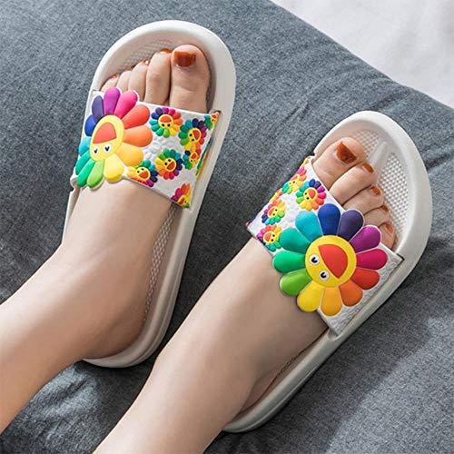 Skdfkajshjfkdjk Vrouwen zomer slippers schattige bloem platte flip flops dames zacht glijden schoenen vrouwelijk druk bloemen bling strand casual sandalen