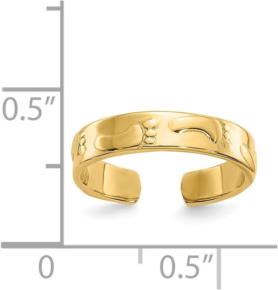 FB Jewels Solid 14K Yellow Gold Footprints Toe Ring