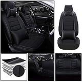 適合マツダ For Mazda6 軽普通車用 シートカバー レザー 防水 エプロンタイプ 前席 運転席 助手席 後部座席 5席 ヘッドレストとランバーサポート付き 贅沢版—黒