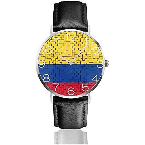 Reloj de Pulsera Colombia Flag Puzzle Classic Casual Reloj de Cuarzo Relojes para Hombres Mujeres