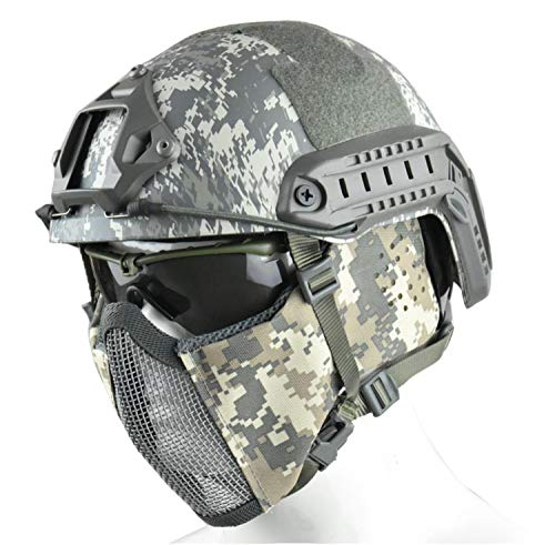 JFFCESTORE MH Updated Version Fast Tactical Helmet Combined with Foldable Half Face Mesh Mask and Goggles for Paintball CS Game Set (ACU)
