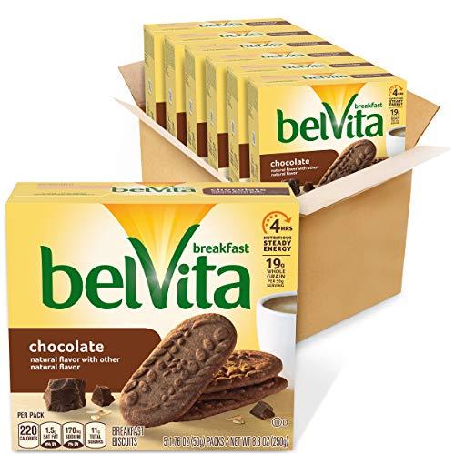 belVita Chocolate Breakfast Biscuits, 6 Boxes of 5 Packs (4 Biscuits Per Pack)