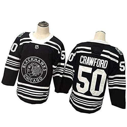 Corey Crawford # 50 Chicago Blackhawks Eishockey Trikots, Breathable Langarm-T-Shirt Mit Logo/Spielernummer, Hip Hop Kleidung Für Party/Buchstaben Und Zahlen Sweatshirt,Schwarz,M