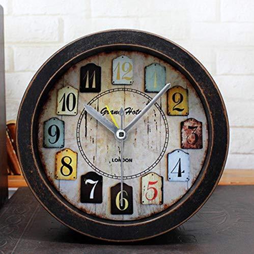 Meilandeng Quarz Pendeluhr Kaminuhren,Retro-alte Holz kleine Uhr Schlafzimmer Studie Desktop-Sitz